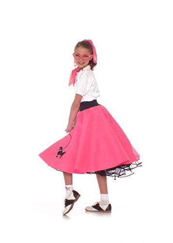 Hip Hop 50s Shop 4 Piece Child Poodle Skirt Costume Set, Size Large Hot Pink (50s Pink Poodle Girls Costume)
