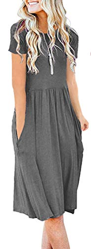 Women Pockets Empire Waist Loose Swing Casual Midi Spring Dress with Sleeve (M, Gray)