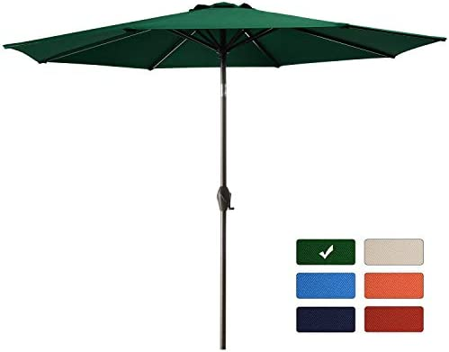 Bumblr 10Ft Patio Umbrella Outdoor Market Umbrella with 8 Sturdy Ribs,Wing Vent,Push Button Tilt Crank 10 Ft, Green