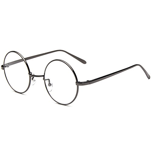 D.King Oversized Vintage Round Retro Large Metal Frame Clear Lens Eyeglasses - Round Vintage Spectacles