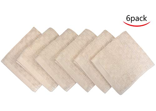 SUNLAND 100% Cotton Washcloths Extra Soft Fingertip Towels Highly Absorbent Face Cloths 6 Pack 13Inchx13Inch Light Brown by SUNLAND (Image #8)