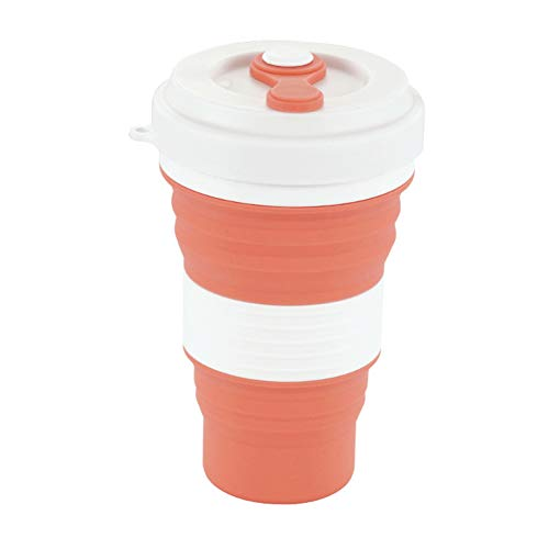 Studyset Coffee Cup Retractable Silica Gel Simple Solid Color for Travel Office Orange 550ml