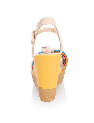 UWSZZ Las sandalias de confort elegante de moda con sandalias de tacón de cuña de piel sintética con la fiesta / zapatos noche conjunta split (otros colores) , white-38 , white-38 White