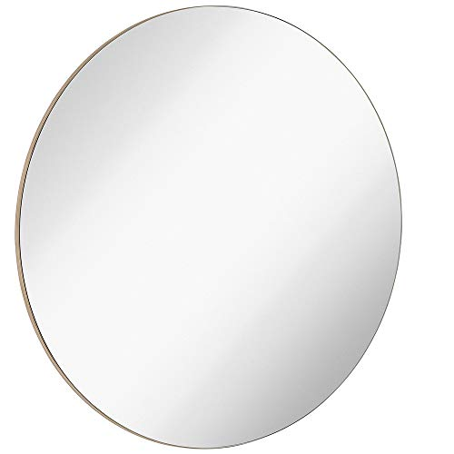 Hamilton Hills Contemporary Thin Natural Wood Edge Circular Wall Mirror | Glass - Round Frame With Bathroom Wood Mirrors