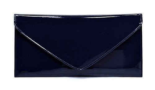Leather Small Evening Bag (Elphis Patent Vegan Envelope Clutch Handbag Shinny PU Evening Bag (Navy Blue))