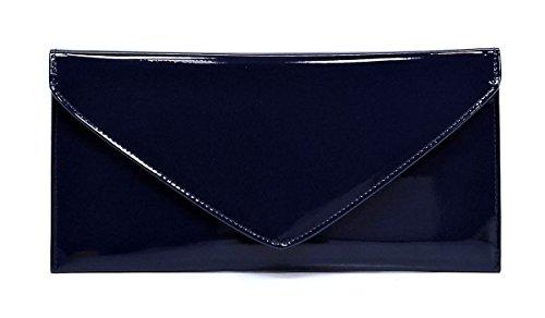 Elphis Patent Vegan Envelope Clutch Handbag Shinny PU Evening Bag (Navy Blue) (Blue Patent Leather Bag)