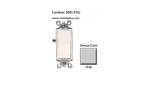 leviton 5601-p2g rocker switch decora single-pole 15 amp 120/277 vac  grounding residential grade quickwire push-in & side clamps wired - gray -  electrical