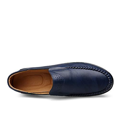 Eu Bout Cricket Doublés Conduite De Color Rond Taille Chaussures 45 Plates En Légers Durables Loafers À Tenue Cuir Bleu Noir Respirants Habits Penny Mocassins Souple wqPUIgx4