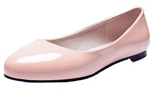 Summerwhisper Mujeres Simple Round Toe Low-cut Ancho Ancho Slip-on Flats Bombas Zapatos Rosa