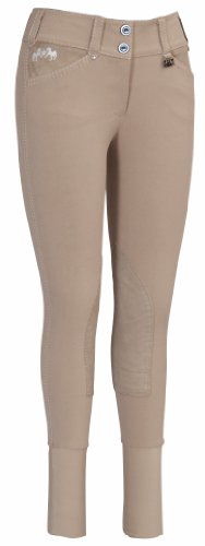 Equine Couture Women's Blakely Knee Patch Breech with Contrast Saddle Stitch, Safari, (Safari Stitch)