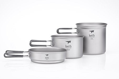 Titanium Cookset - Keith Titanium Ti6014 3-Piece Pot and Pan Cook Set - 2.4 L (Limited Time Promotion Price)