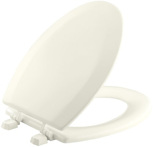 (KOHLER K-4712-T-96 Triko Elongated Molded-Wood Toilet Seat with Color-Matched Hinges, Biscuit )