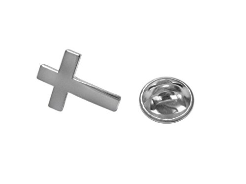 (Kiola Designs Silver Toned Religious Cross Lapel Pin)