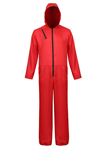(Halloween Costume Mens Red Coverall Long-Sleeve Jumpsuit with Mask Adult Cosplay Costumes)