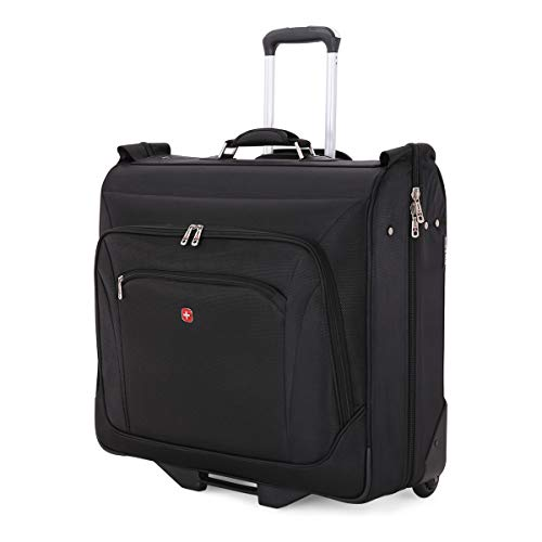 SWISSGEAR Full-Sized Effortless Folding Wheeled Garment Bag | Rolling Travel Luggage | Men's and Women's - Black (Travel Luggage Rolling)