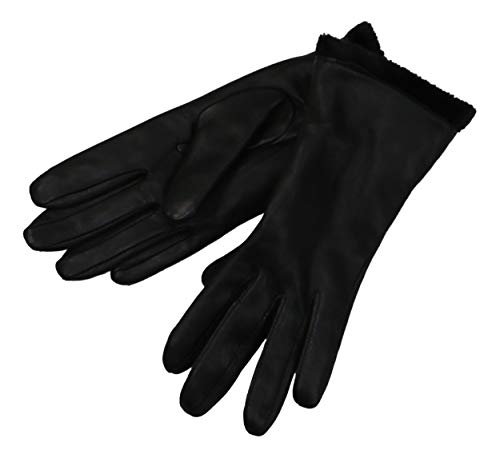 Charter Club Faux Fur Lined Leather Gloves Black Medium