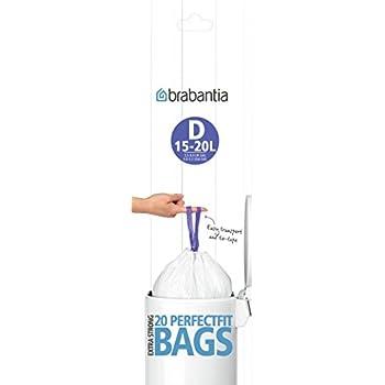 Brabantia Bin Liners, 15-20 L-Size D, 20 Bags, Litre, White