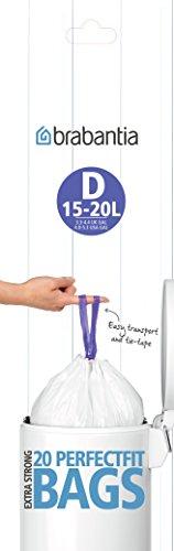 Brabantia Smartfix Bin Liners, Size D, 15 Litre, 20 Bag Roll (Brabantia Garbage Bags)
