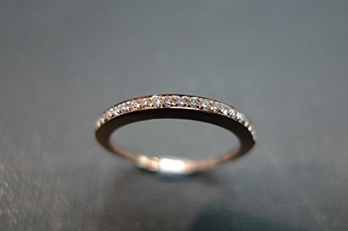 1.5mm Wedding Band Diamond Hammered Ring in 14k Rose Gold
