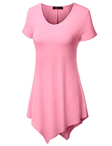 Doublju Women Sexy Soft Fabric Cap Sleeve Tunic PINK,XS