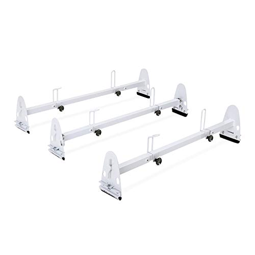 (AA-Racks Model X27 Rain-Gutter Van Roof Racks Square 3  Bar Set with Ladder Stoppers, Full (White))
