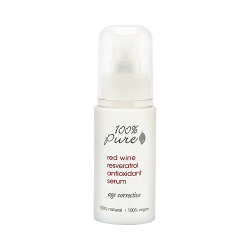 100% Pure: Red Wine Resveratrol Antioxidant Serum, 1 oz, Formulated Specifically To Aggressively Protect Against Signs of Aging Such As Environmental Damage, Lines, Wrinkles and Loss of Elasticity