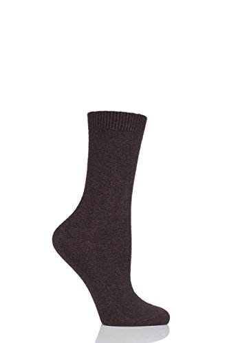Ladies 1 Pair Falke Cosy Wool and Cashmere Socks Brown 7.5-10
