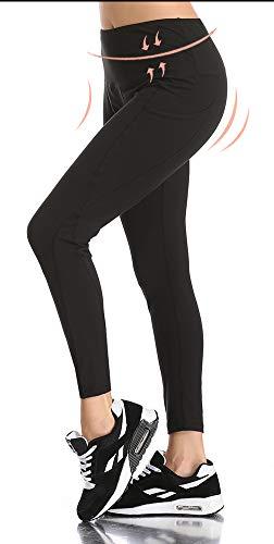 Opuntia Women's Tummy Control High Waist Workout Yoga Pants Non See-Through Running Sports Gym Leggings with Pocket Full Length Black XXL