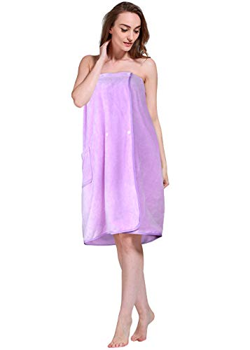 SINLAND Microfiber Women's Spa Wrap Towel Bath Towel with Snap Closure (27inchx53inch, Light Purple) ()