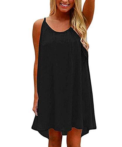 (VYNCS Womens Summer Casual Sleeveless Evening Party Beach Dress (Black, Medium))