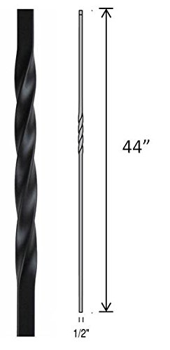 "Hollow Metal Stair Baluster Spindle SINGLE TWIST 1/2"" X 44"""