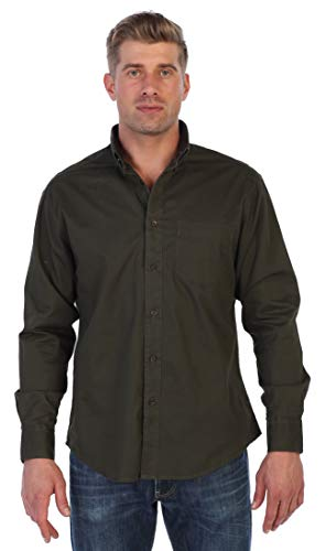Gioberti Mens Long Sleeve Casual Twill Contrast Shirt, Olive, Large
