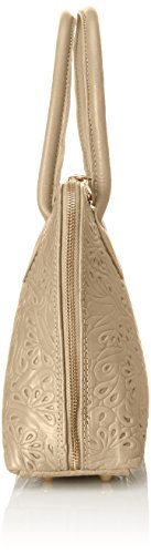 CTM Damenhandtasche mit Blumenmuster , Clutch aus echtem Leder in Italien - 32x23x10 Cm Beige