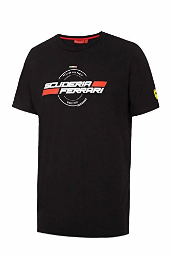 Ferrari Men's Black Classic 1947 Scuderia Ferrari Graphic T-Shirt (X-Large) (Ferrari-london-shop)