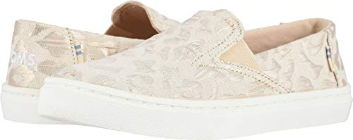 Cheetah Kids - TOMS Kids Girl's Luca (Little Kid/Big Kid) Rose Gold Metallic Woven Cheetah 2 M US Little Kid