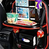 2 Pack Car Back Seat Organizer, Foldable Car Dining Table Holder Bottles Holder Multifunctional Back Seat Protector Universal Use as Car Backseat Organizer for Kids (Black+red)
