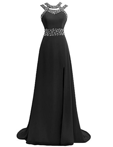 Open Prom Back Chiffon JAEDEN Gowns line Evening Long Bridesmaid A Black Slit Dress Dresses Halter Formal OpTqdwp