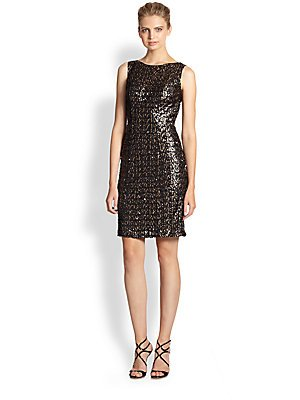 Sue Wong Womens Sequined Prom Cocktail Dress Black 6
