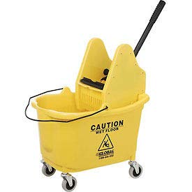 Global Mop Bucket With Down Press Wringer - 38-Quart Capacity - Yellow