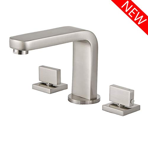 Hotis Two Handle Three Hole Vanity Widespread Bathroom Faucet, Brushed Nickel Bathroom Sink Faucets with Hoses