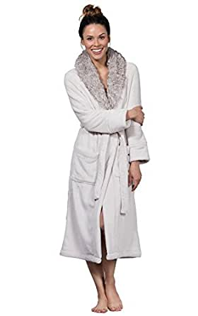 Pajamagram Faux Fur Trim Ultra Soft Plush Wrap Robe For