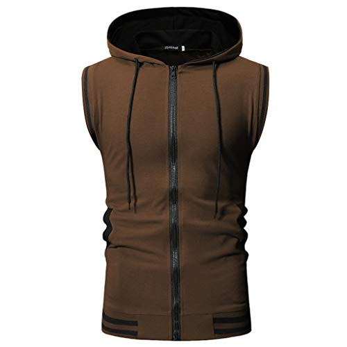 Allywit-Mens Slim Fit Lightweight Active Sleeveless Zip-up Hooded Vest Gym Tank Top Coffee ()