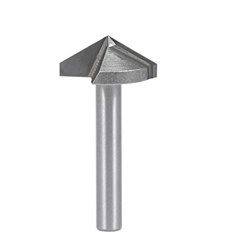 uxcell Router Bit 6mm Shank 22mm Dia. 120 Degree V-Groove End Mill Tungsten Steel for CNC Woodworking Engraving Edge Trimmer ()
