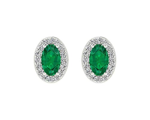 Euforia Jewels IGI Certified 14K Fine Gold Natural Emerald 5x3 MM Oval Cut and 0.16 Cts Natural Diamond I1-I2/G-H Round Cut Earring With Free Silver - 14k Emerald Wg Cut Diamond