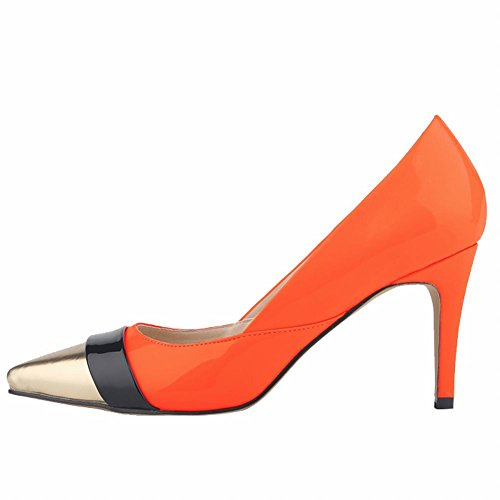 Loslandifen Women's Closed Toe Pointed Corset High Heels Mix Color Work - Orange Mix Color
