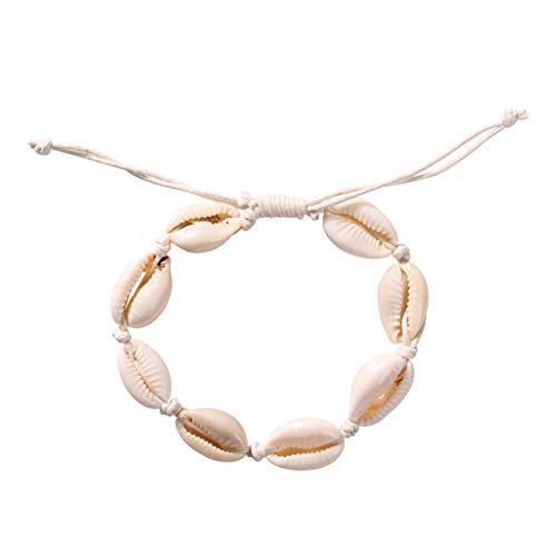 puxiaoa European and American Fashion Jewelry Conch Marine Series Shell Bracelet Fashion Strand Adjustable Bracelet for Women Girls White -