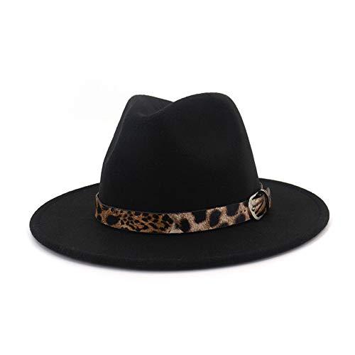 (Lisianthus Women's Leopard Classic Wide Brim Felt Fedora Panama Hat Black)