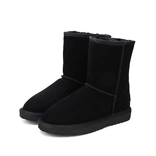 Genuine Cowhide Leather Australia Classic 100% Wool Snow Boots Warm Winter for Women,Black,8