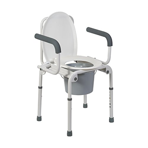 DMI Portable Toilet, Deluxe Commode Chair, Drop Arm Commode For Easy T