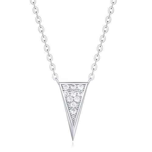 Carleen 18K White Gold Plated 925 Sterling Silver Round CZ Cubic Zirconia Triangle Dainty Pendant Necklace for Women Girls with 15.75